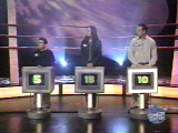 The contestant podiums, as usual
