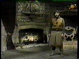 Treguard stands next to his fireplace