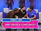 Can the men guess what a dust ruffle is? (They did!)
